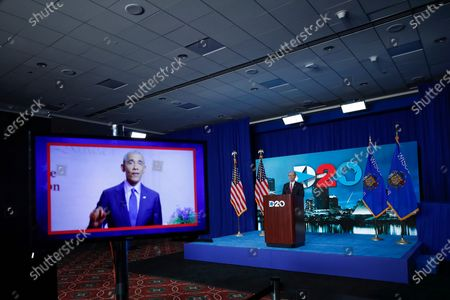 A screen plays a video of former president Barack Obama as Chairman of the Democratic National Committee Tom Perez waits to speak during day four of the virtual Democratic National Convention in Milwaukee, Wisconsin, USA, 20 August 2020. Thursday marked the last day of the Democratic National Convention, which is being held virtually for the first time in history.