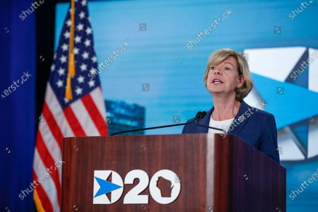US Senator Tammy Baldwin, D-Wisconsin, speaks during day four of the virtual Democratic National Convention in Milwaukee, Wisconsin, USA, 20 August 2020. Thursday marked the last day of the Democratic National Convention, which is being held virtually for the first time in history.