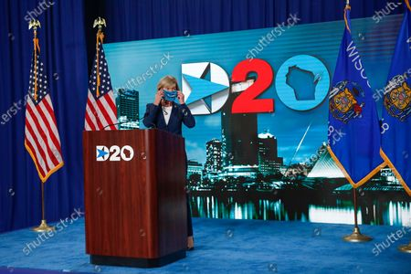 US Senator Tammy Baldwin, D-Wisconsin, puts a face mask on after speaking during day four of the virtual Democratic National Convention in Milwaukee, Wisconsin, USA, 20 August 2020. Thursday marked the last day of the Democratic National Convention, which is being held virtually for the first time in history.
