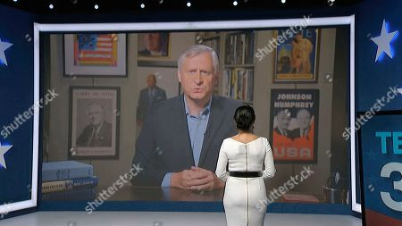 In this image from video, Jon Meacham speaks as Julia Louis-Dreyfus, serving as moderator, listens during the fourth night of the Democratic National Convention on Thursday, Aug. 20, 2020. (Democratic National Convention via AP)