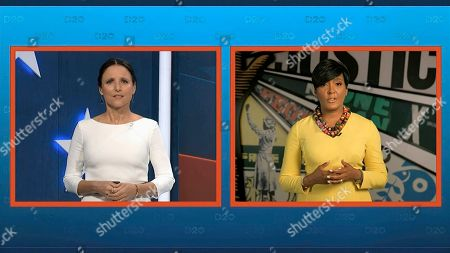 In this image from video, Atlanta Mayor Keisha Lance Bottoms talks with Julia Louis-Dreyfus, serving as moderator, during the fourth night of the Democratic National Convention on Thursday, Aug. 20, 2020. (Democratic National Convention via AP)
