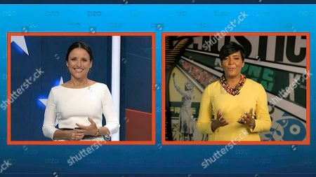 Stock Image of In this image from video, Atlanta Mayor Keisha Lance Bottoms talks with Julia Louis-Dreyfus, serving as moderator, during the fourth night of the Democratic National Convention on Thursday, Aug. 20, 2020. (Democratic National Convention via AP)
