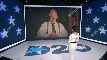 In this image from video, World War II veteran Ed Good speaks as Julia Louis-Dreyfus, serving as moderator, listens during the fourth night of the Democratic National Convention on Thursday, Aug. 20, 2020. (Democratic National Convention via AP)