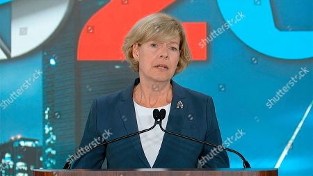 In this image from video, Sen. Tammy Baldwin, D-Wis., speaks during the fourth night of the Democratic National Convention on Thursday, Aug. 20, 2020. (Democratic National Convention via AP)