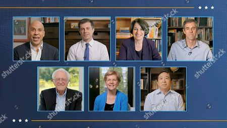 In this image from video, former Democratic presidential candidates Sen. Cory Booker, D-N.J., Sen. Elizabeth Warren, D-Mass., Sen. Bernie Sanders, I-Vt., Sen. Amy Klobuchar, D-Minn, former South Bend Mayor Pete Buttigieg, former Texas Rep. Beto O'Rourke and Andrew Yang, talk during the fourth night of the Democratic National Convention on Thursday, Aug. 20, 2020. (Democratic National Convention via AP)