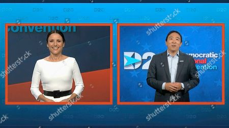 In this image from video, Julia Louis-Dreyfus, serving as moderator, and Andrew Yang speak during the fourth night of the Democratic National Convention on Thursday, Aug. 20, 2020. (Democratic National Convention via AP)
