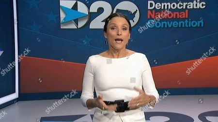 In this image from video, Julia Louis-Dreyfus, serving as moderator, speaks during the fourth night of the Democratic National Convention on Thursday, Aug. 20, 2020. (Democratic National Convention via AP)