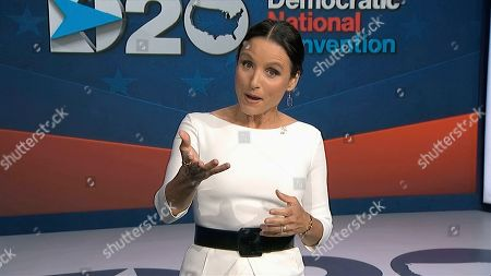 Stock Picture of In this image from video, Julia Louis-Dreyfus, serving as moderator, speaks during the fourth night of the Democratic National Convention on Thursday, Aug. 20, 2020. (Democratic National Convention via AP)