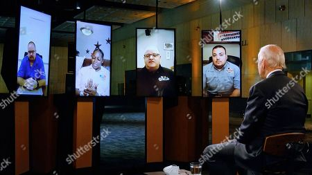 In this image from video, Democratic presidential candidate former Vice President Joe Biden leads a conversation on the economy with Robert Bair, Gerald Lang, Robert Lopez, and Natasha Taylor during the fourth night of the Democratic National Convention on Thursday, Aug. 20, 2020. (Democratic National Convention via AP)