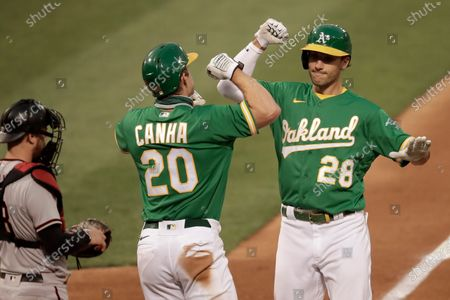 Oakland Athletics' Matt Olson, right, celebrates with Mark Canha (20) after hitting a two-run home run off Arizona Diamondbacks pitcher Alex Young in the fourth inning of a baseball game, in Oakland, Calif