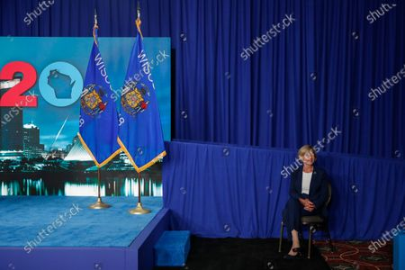 Sen. Tammy Baldwin, D-Wisc., waits to speak during the final night of the virtual 2020 Democratic National Convention, in Milwaukee, Wisc