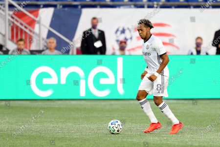 Foxborough, MA, USA; Philadelphia Union midfielder Jose Andres Martinez (8) in action during a MLS match between Philadelphia Union and New England Revolution at Gillette Stadium