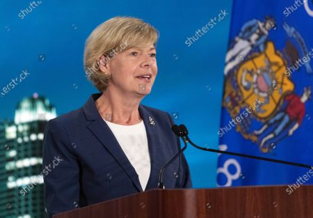 August 20, 2020; Milwaukee, WI, USA; United States Senator Tammy Baldwin (Democrat of Wisconsin) speaks during the Democratic National Convention at the Wisconsin Center. Mandatory