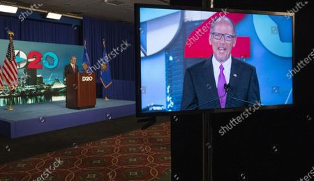 August 20, 2020; Milwaukee, WI, USA; Democratic National Committee Chairman Tom Perez speaks during the Democratic National Convention at the Wisconsin Center. Mandatory
