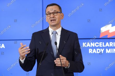 Polish Prime Minister Mateusz Morawiecki speaks during a press conference in Warsaw, Poland, on Aug. 20, 2020. Morawiecki on Thursday announced that Adam Niedzielski would replace Lukasz Szumowski as the new health minister while Zbigniew Rau would replace Jacek Czaputowicz as the new foreign minister, Polish Press Agency reported.
