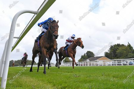 Winner of The Baverstock Nursery Stakes Soft Whisper ridden by Hector Crouch and trained by Saeed bin Suroor  during Horse Racing at Salisbury Racecourse on 21st August 2020