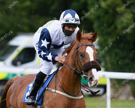 Nibras Silk ridden by Sean Levy goes down to the start of The British Stallion Studs EBF Wilton Novice Auction Stakes during Horse Racing at Salisbury Racecourse on 21st August 2020