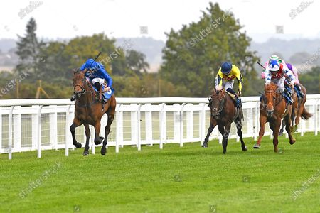 Stock Photo of Winner of The Baverstock Nursery Stakes Soft Whisper ridden by Hector Crouch and trained by Saeed bin Suroor during Horse Racing at Salisbury Racecourse on 21st August 2020