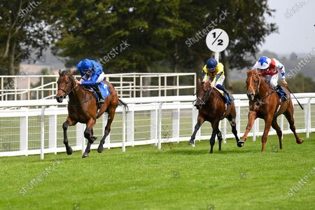Stock Image of Winner of The Baverstock Nursery Stakes Soft Whisper ridden by Hector Crouch and trained by Saeed bin Suroor during Horse Racing at Salisbury Racecourse on 21st August 2020
