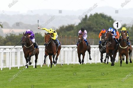 Winner of The Odstock Handicap Postileo (yellow) ridden by David Egan and trained by Roger Varian during Horse Racing at Salisbury Racecourse on 21st August 2020