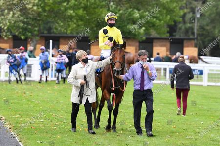 Winner of The Odstock Handicap Postileo ridden by David Egan and trained by Roger Varian is led into the Winners enclosureduring Horse Racing at Salisbury Racecourse on 21st August 2020