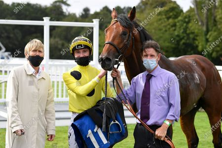 Winner of The Odstock Handicap Postileo ridden by David Egan and trained by Roger Varian iin the Winners enclosure during Horse Racing at Salisbury Racecourse on 21st August 2020