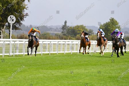 Stock Photo of Winner of The Dinton Handicap (Div 1)   Old News (Orange) ridden by Finlay Marsh and trained by Richard Hughes during Horse Racing at Salisbury Racecourse on 21st August 2020