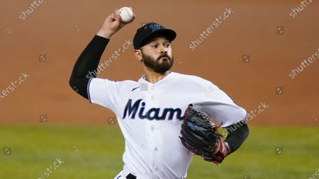 Miami Marlins starting pitcher Pablo Lopez throws during the first inning of a baseball game against the New York Mets, in Miami