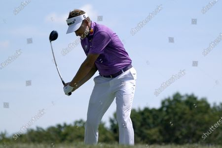 Ian Poulter hits drives off the 17th tee during the second round of the Northern Trust golf tournament at TPC Boston, in Norton, Mass