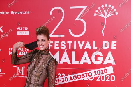 Ruth Gabriel poses for photographers during the inauguration gala on the opening night of the 23rd Spanish Film Festival in Malaga, southern Spain, 21 August 2020. The festival was postponed due to coronavirus lockdown in March and is now running from 21 to 30 August 2020.