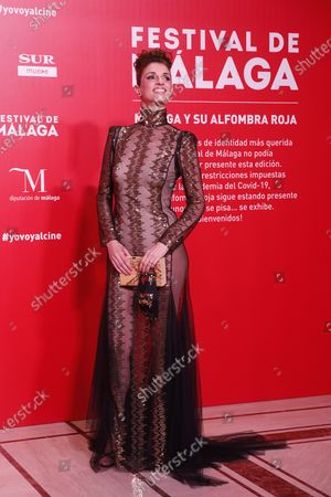 Stock Image of Ruth Gabriel poses for photographers during the inauguration gala on the opening night of the 23rd Spanish Film Festival in Malaga, southern Spain, 21 August 2020. The festival was postponed due to coronavirus lockdown in March and is now running from 21 to 30 August 2020.