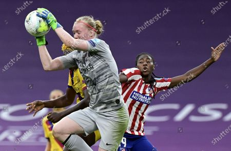 Goalkeeper Hedvig Lindahl of Atletico in action during the UEFA Women Champions League quarter final match between Atletico Madrid and Barcelona in Bilbao, Spain, 21 August 2020.