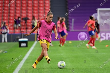 Barcelona's Lieke Martens kicks the ball while warming up before the Women's quarter-final Champions League soccer match between Atletico Madrid and Barcelona at the San Mames stadium in Bilbao, Spain