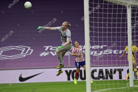 Atletico Madrid's goalkeeper Hedvig Lindahl leaps in the air during the Women's quarter-final Champions League soccer match between Atletico Madrid and Barcelona at the San Mames stadium in Bilbao, Spain
