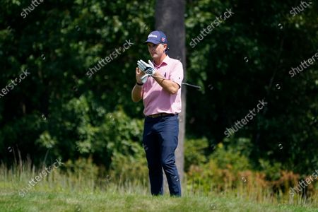 Stock Picture of Kevin Streelman prepares for his approach onto the 14th green during the second round of the Northern Trust golf tournament at TPC Boston, in Norton, Mass