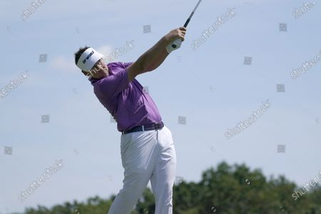 Ian Poulter drives off the 17th tee during the second round of the Northern Trust golf tournament at TPC Boston, in Norton, Mass