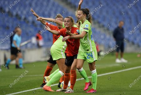Glasgow City's Samantha Kerr, center, reacts to a call during the Women's Champions League quarterfinal soccer match between Glasgow City and Wolfsburg at the Anoeta stadium in San Sebastian, Spain