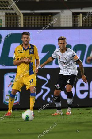 "Stock Picture of Marcus Rohden (Frosinone)Matteo Ricci (Spezia)                                     during the Italian ""Serie B Play Off  match between Spezia 0-1 Frosinone   at  Alberto Picco  Stadium on August 20 , 2020 in La Spezia, Italy."
