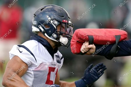 Stock Photo of Houston Texans linebacker Dylan Cole (51) hits a blocking pad as part of a drill during an NFL football training camp practice, in Houston