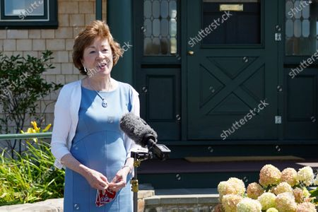 Stock Picture of Sen. Susan Collins, R-Maine speaks after having lunch with former President George W. Bush and Laura Bush, in Kennebunkport, Maine