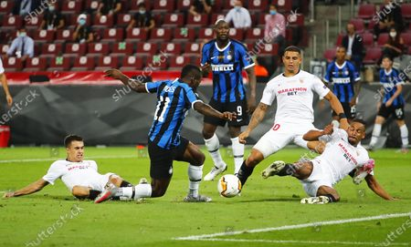 Stock Picture of Inter's Victor Moses (2-L) in action during the UEFA Europa League final match between Sevilla FC and Inter Milan in Cologne, Germany, 21 August 2020.