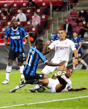 Stock Image of Inter's Victor Moses (2-L) in action during the UEFA Europa League final match between Sevilla FC and Inter Milan in Cologne, Germany, 21 August 2020.