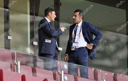 Former soccer players Javier Zanetti (L) of Argentina and Luis Figo of Portugal prior the UEFA Europa League final match between Sevilla FC and Inter Milan in Cologne, Germany 21 August 2020.
