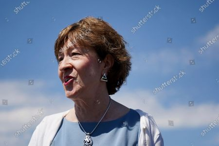 Sen. Susan Collins, R-Maine, speaks after having lunch with former President George W. Bush and his wife Laura Bush, in Kennebunkport, Maine