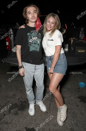 Austin Abrams and Actor/Executive Producer Lili Reinhart attend Amazon Studios Special Screening of Chemical Hearts on Friday, August 21 at the Paramount Drive-In in Los Angeles.