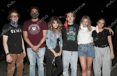 CJ Hoff, Writer/Director/Producer Richard Tanner, Sarah Jones, Austin Abrams and Actor/Executive Producer Lili Reinhart and Shannon Walsh attend Amazon Studios Special Screening of Chemical Hearts on Friday, August 21 at the Paramount Drive-In in Los Angeles.