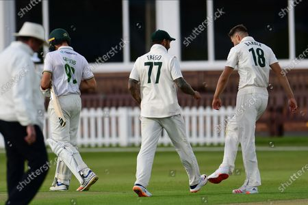 Tom Barber of Nottinghamshire celebrates taking a wicket during the Bob Willis Trophy match between Leicestershire County Cricket Club and Nottinghamshire County Cricket Club at the Fischer County Ground, Grace Road, Leicester