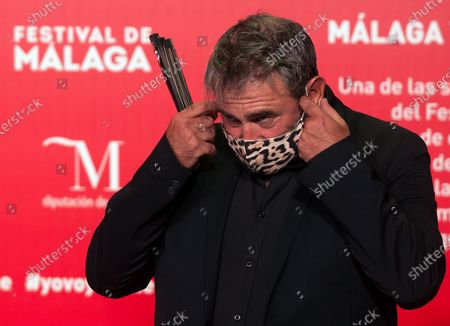 Stock Photo of Spanish actor Sergi Lopez seen wearing a facemask attends the Malaga Film Festival at Miramar Hotel. The 23rd edition of the Spanish Malaga Film Festival is the first great cinematographic event in Spain after it was postponed due to coronavirus pandemic last month of March. The organization has introduced measures to prevent the spread for coronavirus and to guarantee a secure event. The festival will be held from 21 to 30 August.