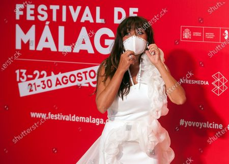 Spanish actress Candela Pena seen wearing a facemask attends the Malaga Film Festival at Miramar Hotel. The 23rd edition of the Spanish Malaga Film Festival is the first great cinematographic event in Spain after it was postponed due to coronavirus pandemic last month of March. The organization has introduced measures to prevent the spread for coronavirus and to guarantee a secure event. The festival will be held from 21 to 30 August.