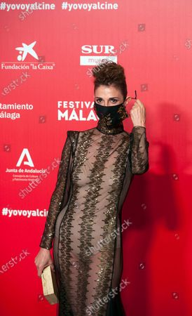 Stock Picture of Spanish actress Ruth Gabriel seen wearing a facemask attends the Malaga Film Festival at Miramar Hotel. The 23rd edition of the Spanish Malaga Film Festival is the first great cinematographic event in Spain after it was postponed due to coronavirus pandemic last month of March. The organization has introduced measures to prevent the spread for coronavirus and to guarantee a secure event. The festival will be held from 21 to 30 August.